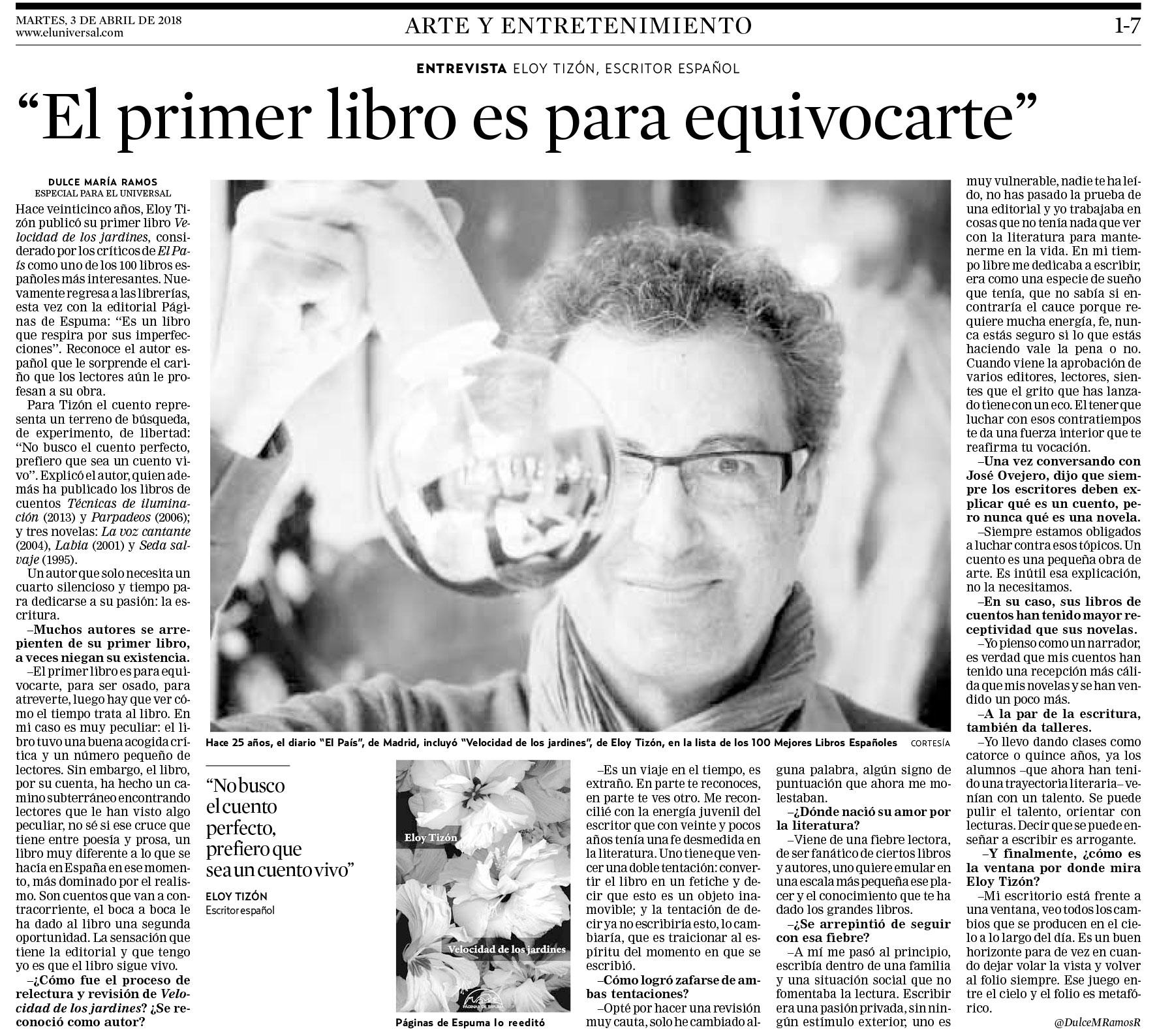 54a1ff77ed Desde Venezuela nos llega la última entrevista con Eloy Tizón, que le ha  hecho Dulce María Ramos para el periódico El Universal.